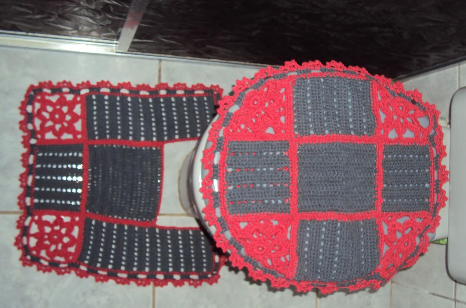 CRIANDO CROCHE: Jogo de banheiro Cinza com flores vermelhas #B2192D 1600 1060