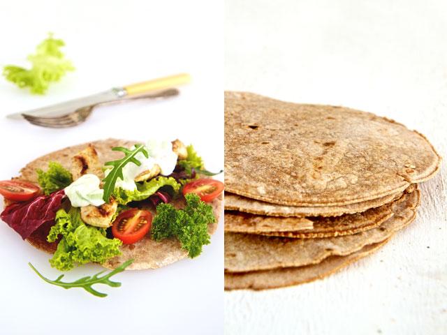 Spelt flatbread with chicken souvlaki