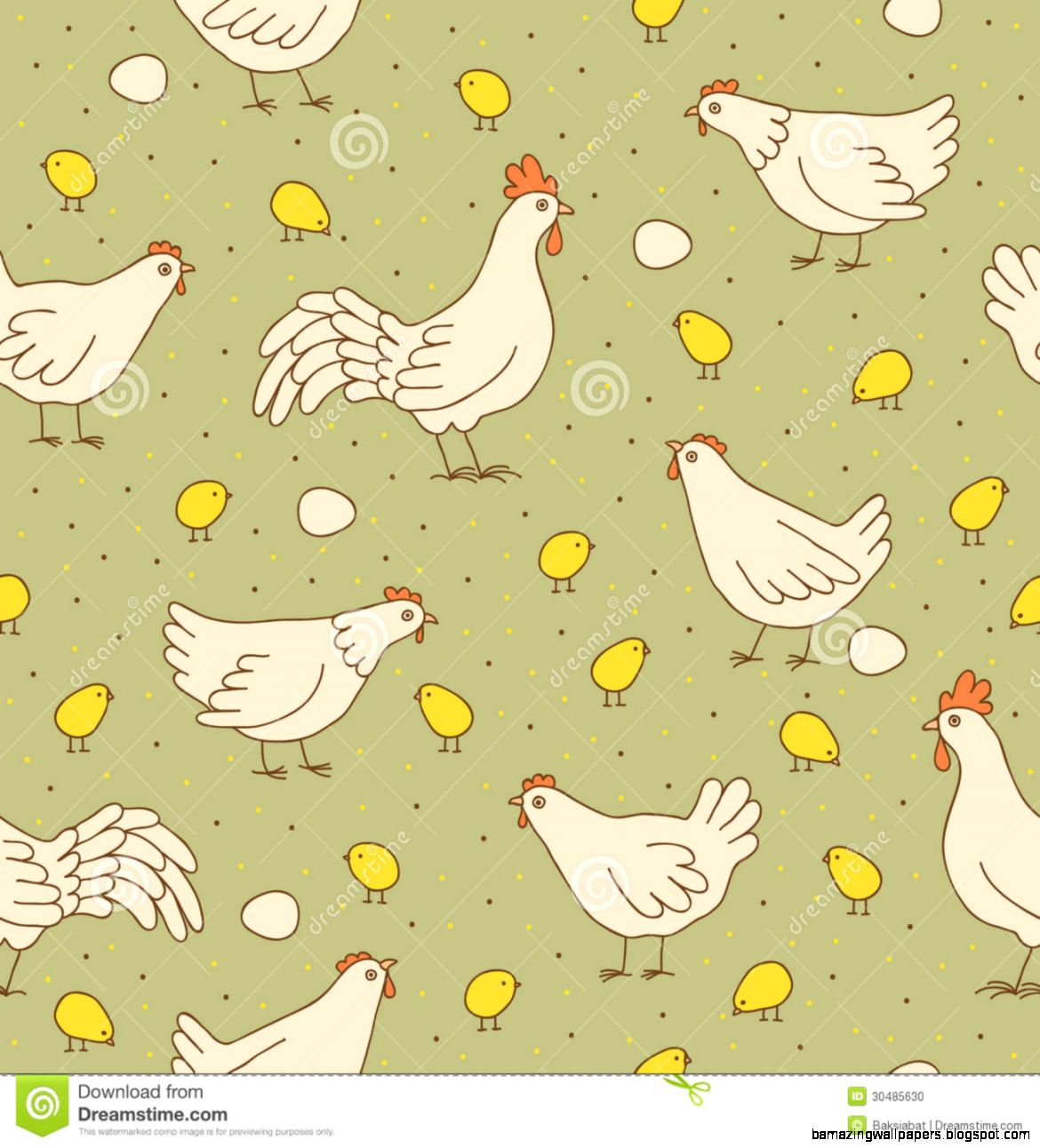 Seamless Texture With Cocks Hens And Chicks Stock Photo   Image