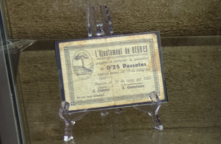 Billete Ayuntamiento Begues 1937