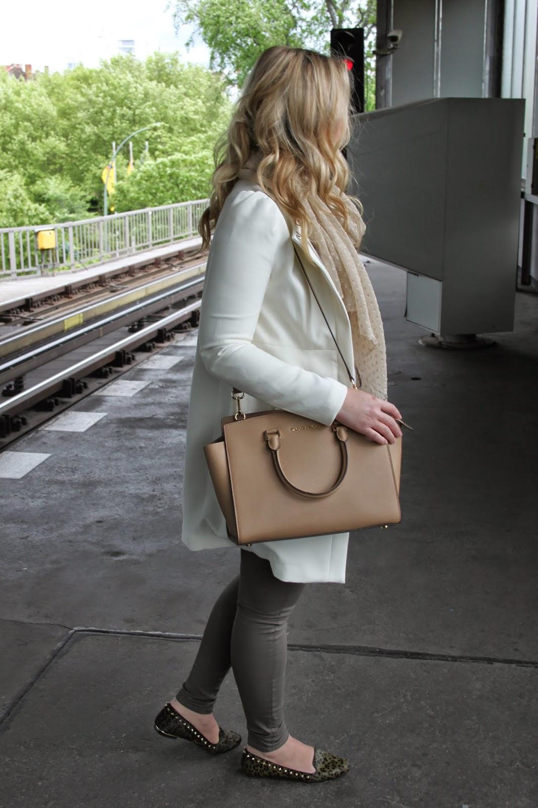 J L d a y s . . .: A white coat, loafers and a Michael Kors bag