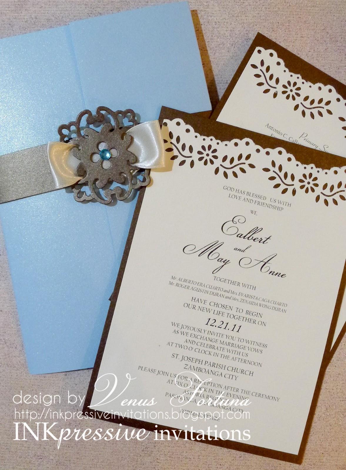 Gatefold wedding invitation + Powder Blue + Chocolate   WEDDING ...