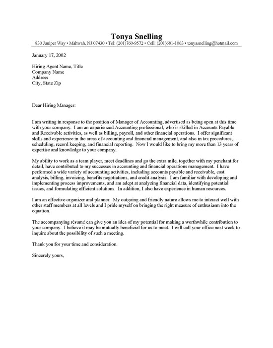Sample Cover Letters For Accounting Jobs