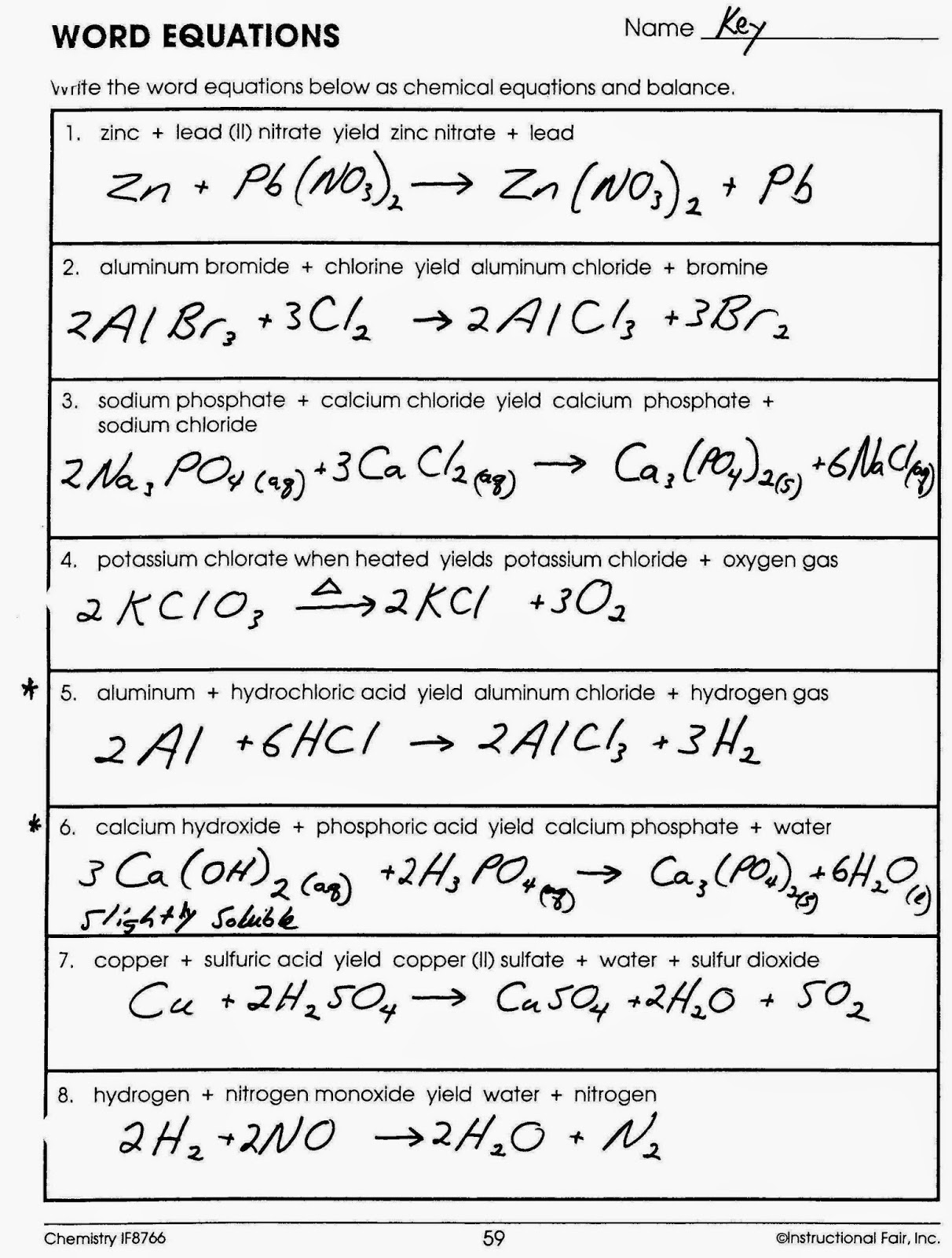 Balancing Chemical Equations Chapter 7 Worksheet 1 Answers – Balancing Chemical Equations Worksheet 1 Answers