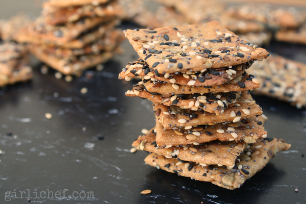 Crunchy Seeded Crackers {Bread Baking Babes} | www.girlichef.com