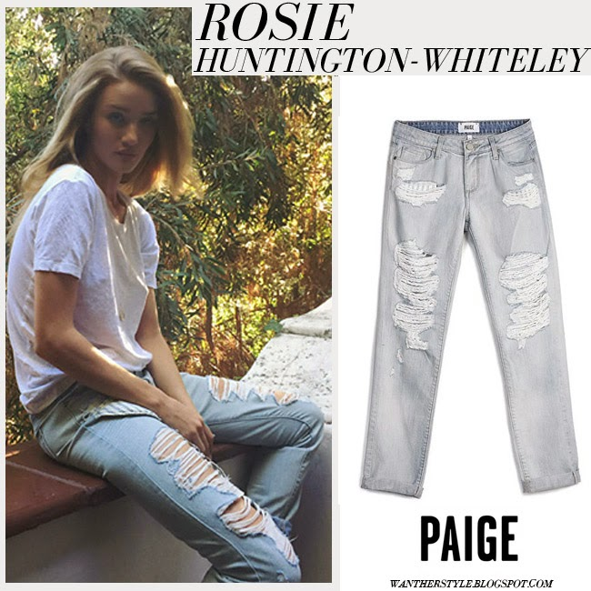 Rosie Huntington-Whiteley in white t-shirt and light blue distressed Paige Denim Jimmy Jimmy jeans want her style inspiration blonde hair