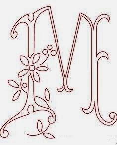M flower calligraphy monogram tattoo stencils