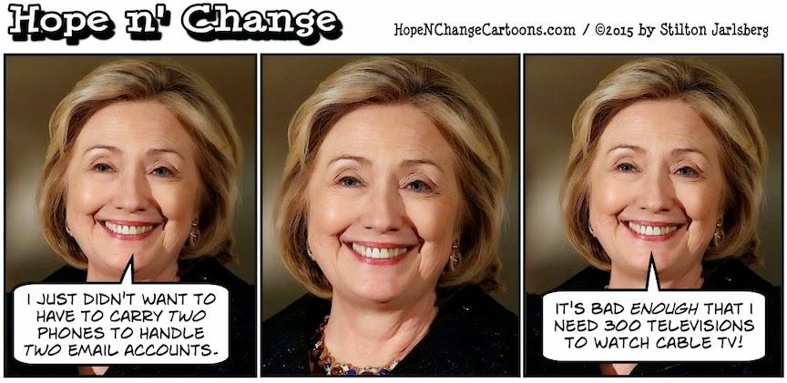 obama, obama jokes, political, humor, cartoon, conservative, hope n' change, hope and change, stilton jarlsberg, hillary, clinton, email, scandal