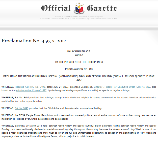 Philippine Holidays for the Year 2013 | Civil Service Exam