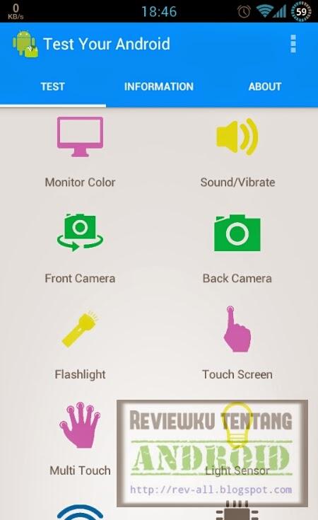 Tampilan utama TEST YOUR ANDROI versi 3.0b - aplikasi android untuk mengetes kesehatan dan fungsi fasilitas perangkat Anda (rev-all.blogspot.com)