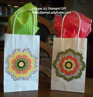 Gift Bags decorated with Stampin'UP!'s Floral Framelits Dies.
