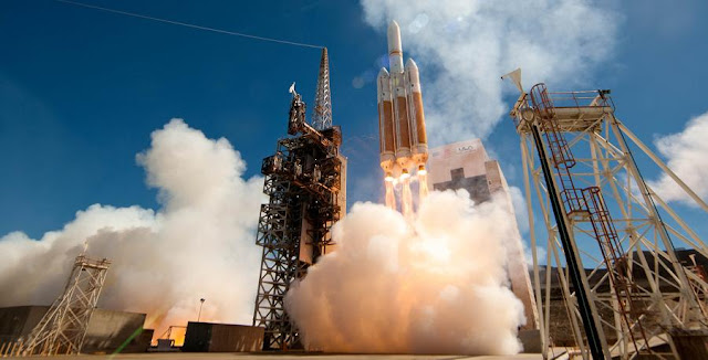 A United Launch Alliance (ULA) Delta IV Heavy rocket carrying a payload for the National Reconnaissance Office (NRO) lifts off from Space Launch Complex-6. Designated NROL-65, the mission is in support of national defense. This is ULA's eighth launch in 2013, the 24th Delta IV mission and the second Delta IV Heavy launch from Vandenberg Air Force Base. Credit: ULA