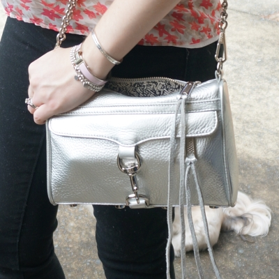 AwayFromTheBlue | Rebecca Minkoff silver metallic mini MAC bag with black skinnies