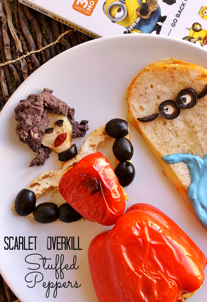 Scarlett Overkill Stuffed Peppers and Minion Quesadilla #MinionsMovieNight (Ad)