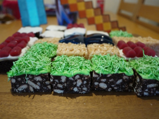 each block of the cake was a minecraft block grass hedgehog slice with