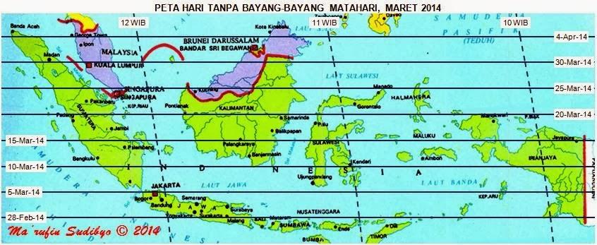 5 Maret 2014, Jakarta Tanpa Bayangan Matahari
