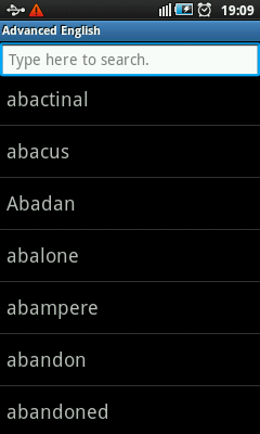 Dictionary For Android - Word List
