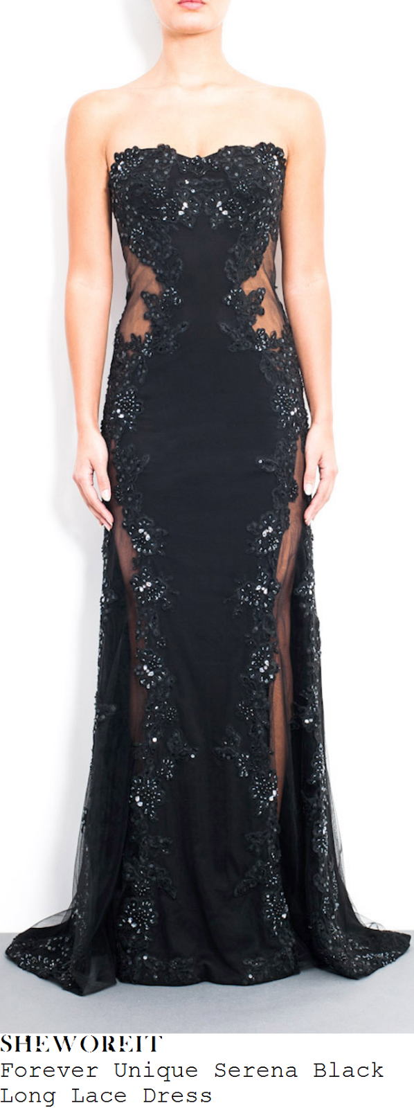 catherine-tyldesley-black-strapless-sequin-bead-embellished-lace-mesh-dress