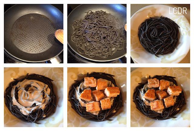 Receta de espaguetis negros con salmón 04