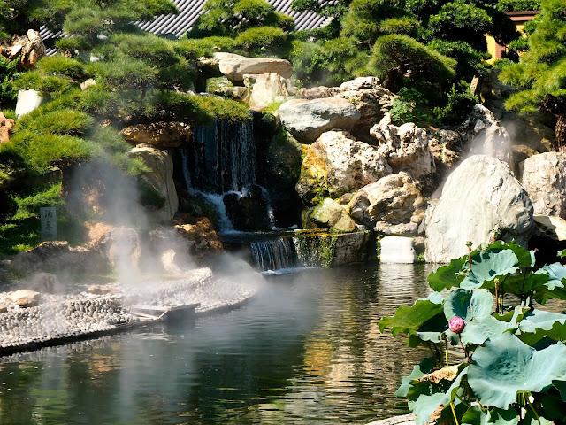Waterfall feature in Nan Lian Gardens, Kowloon, Hong Kong