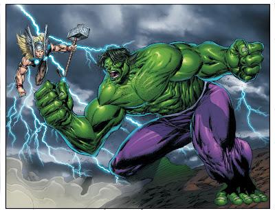 Dibujo de Thor y Hulk por Rob Liefeld