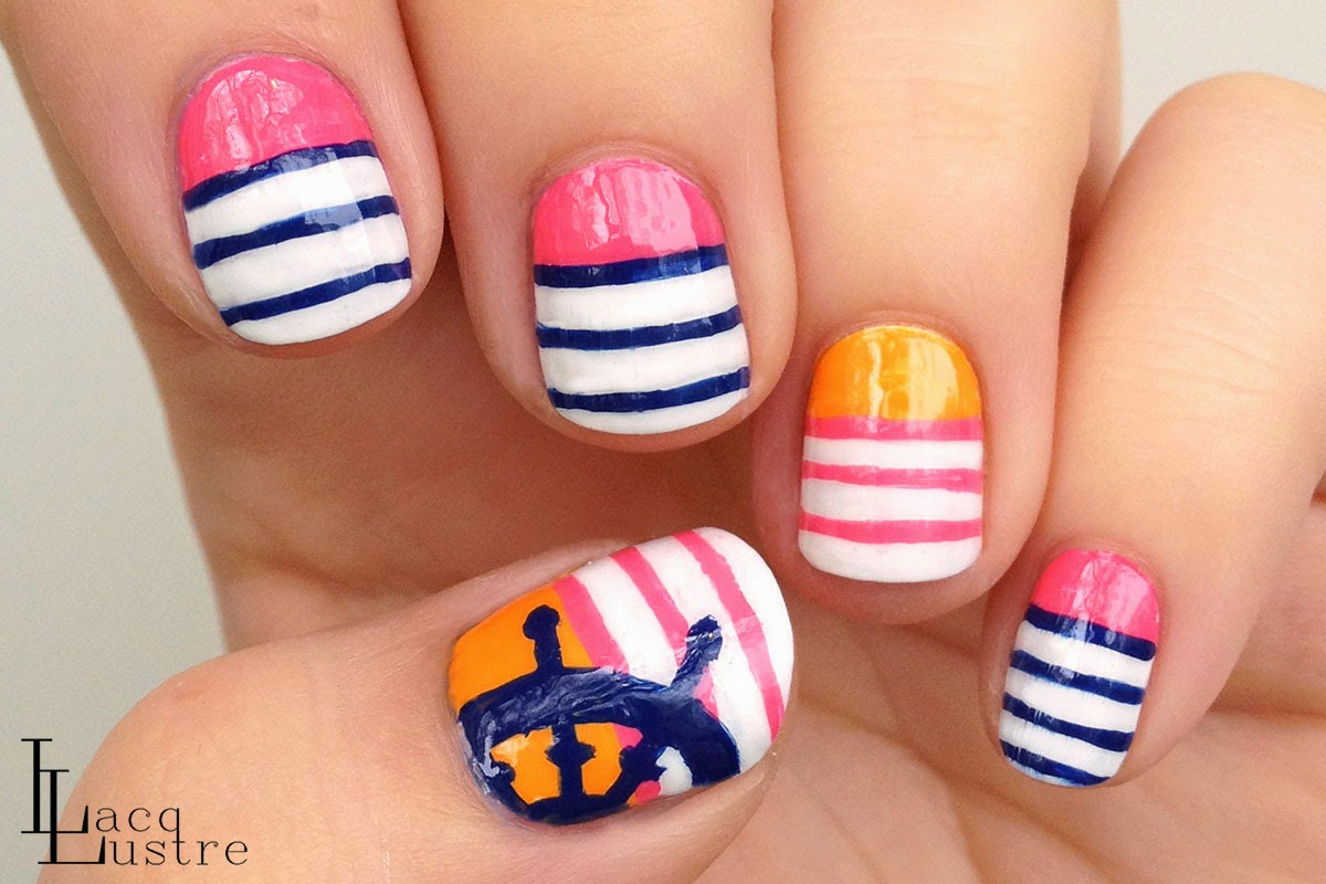 Nautical Stripes Nail Art