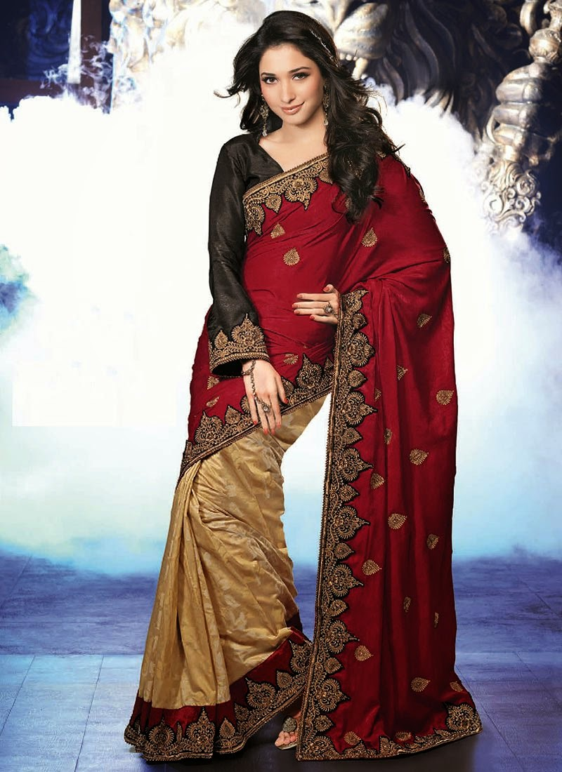 http://www.cbazaar.com/party-wear-saree/exotic-jacquard-weave/nice-tamannaah-half-n-half-saree-p-samkns113.html