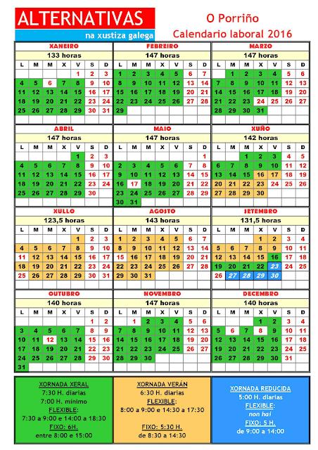 Porriño. Calendario laboral 2016
