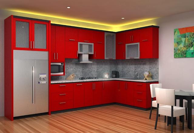 Model Dapur Minimalis Warna Merah