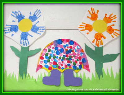 photo of: Spring Bulletin Board: Handprints and Umbrellas