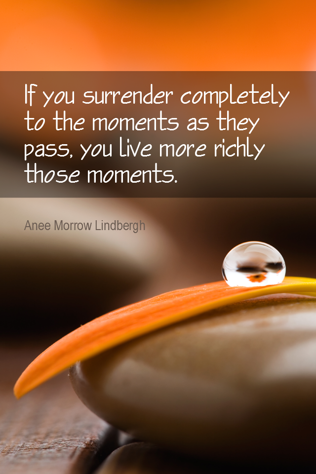 visual quote - image quotation for MINDFULNESS - If you surrender completely to the moments as they pass, you live more richly those moments. - Anee Morrow Lindbergh