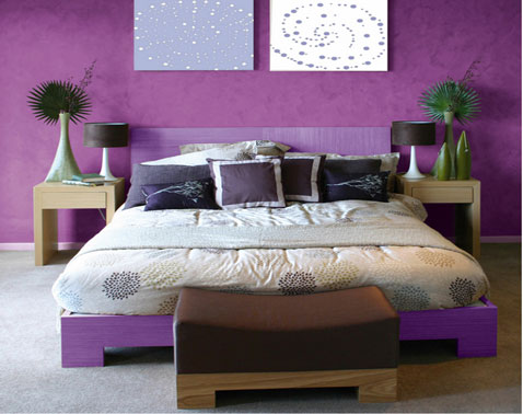 Habitaciones decoradas con color violeta o p rpura for Decoracion para pared fucsia