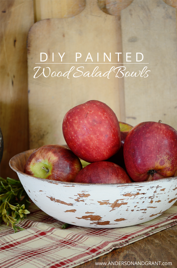 DIY Painted Wood Salad Bowls | www.andersonandgrant.com
