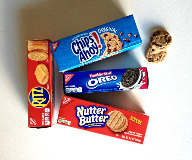 oreo chips ahoy nutter butter cookie boxes