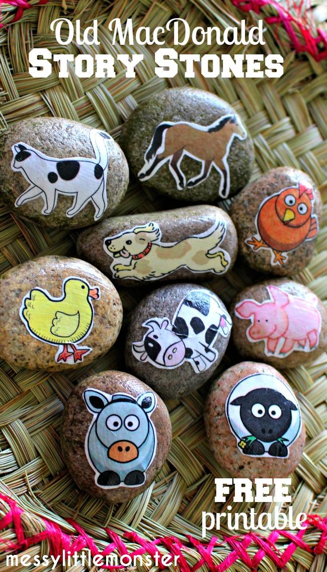 Make Farm animal story stones : Free Printable