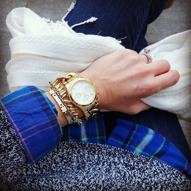 Old Navy Plaid Top (similar - this year's version) // Gap Sweater (similar - only $23!) // Joe's Jeans - 40% off! // Michael Kors Watch // Stella and Dot Bracelet // Forever 21 Scarf