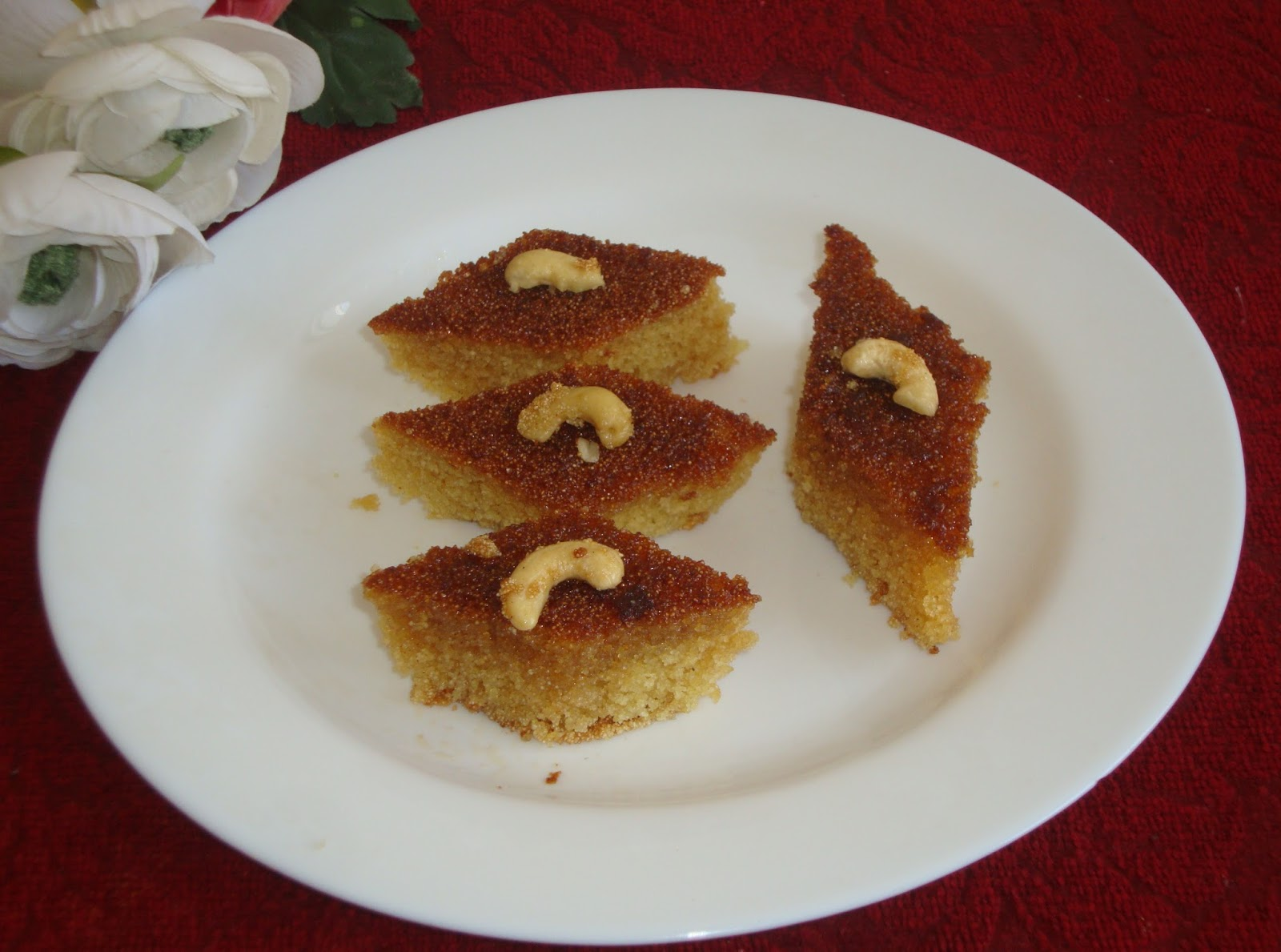 Poornima's Cook Book: Honey Drizzled Semolina Cake