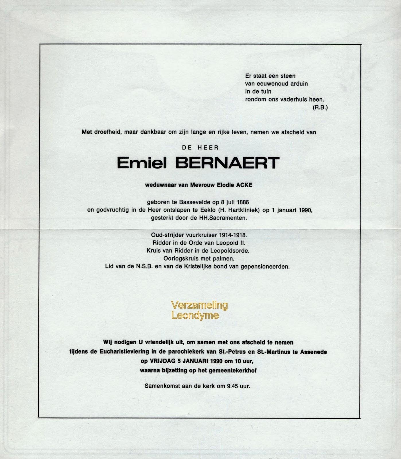 Rouwbrief, Emiel Bernaert 1886-1990. Verzameling Leondyme