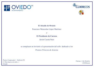 Invitación al acto de presentación del pliego Premium Premios Princesa de Asturias