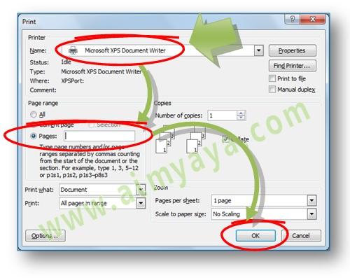 Gambar: Cara melakukan print / mencetak beberapa halaman (termasuk untuk section yang berbeda) di Microsoft Word 2007