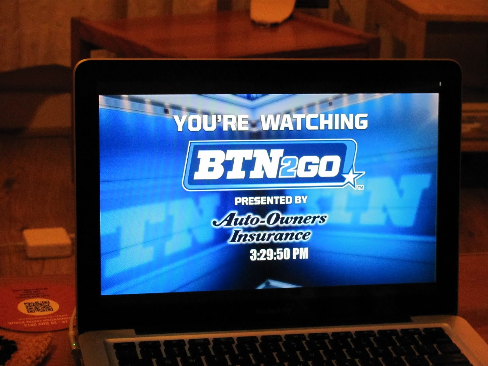 Computer screen showing the BTN2GO logo before the Iowa Hawkeyes football game