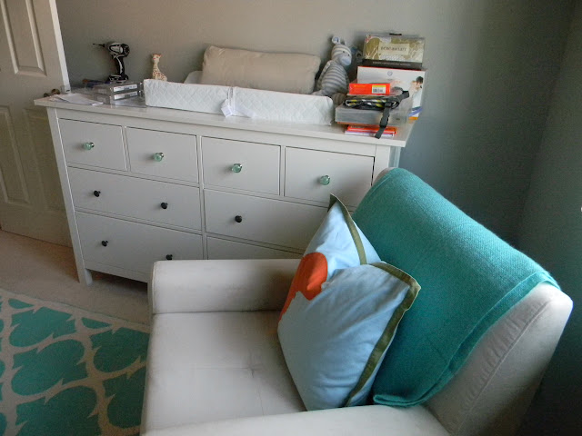 We sprung for the Ikea Hemnes dresser which will also be the changing  table  The nursery has a small closet  so the extra storage is  necessary   and already. Nursery Update    Schue Love