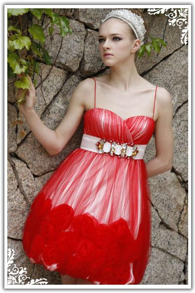 red short junior prom dress