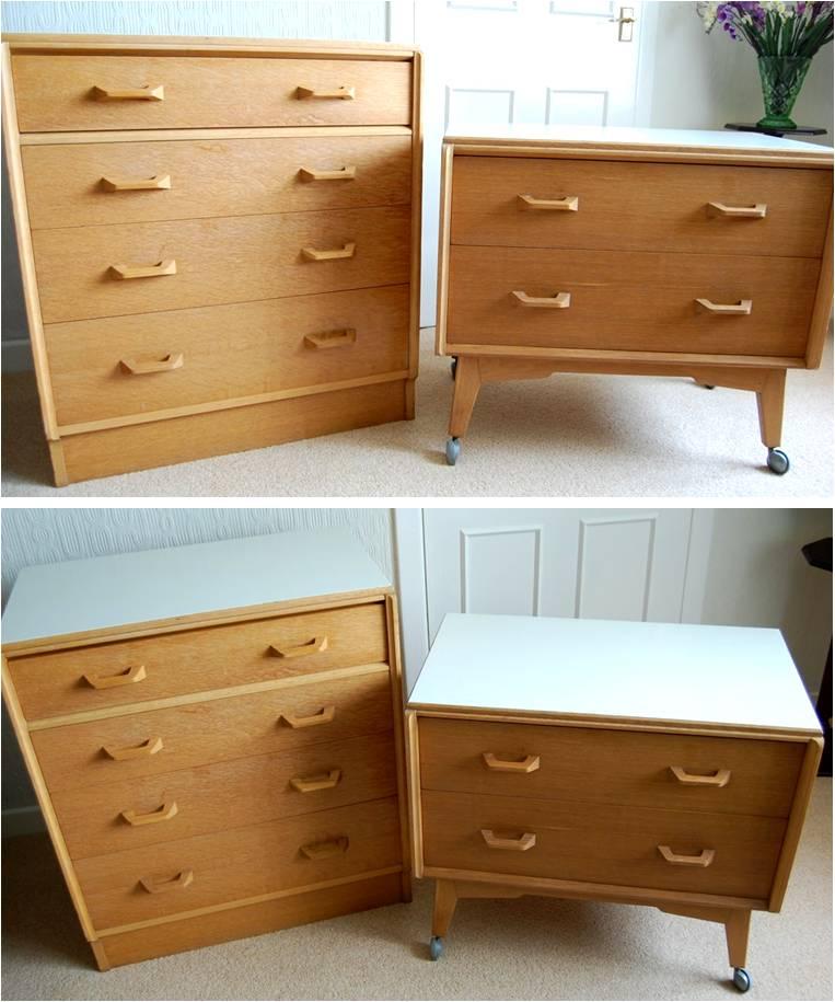 Modernist Furniture Sold Birch Wood Dresser And End Table Scandinavian Modern