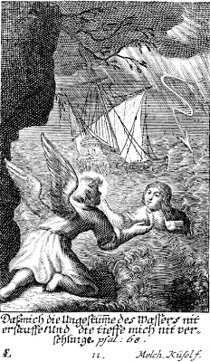 Deliverance from the flood - Psalm 69:15 - Engraving by Melchior Kussel - Artist SL