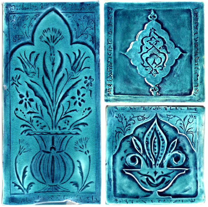 hand made moorish tile turquoise crackle glaze decorative
