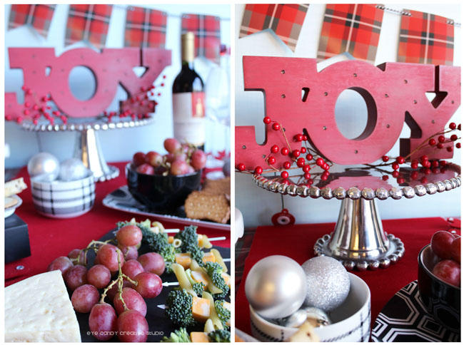 JOY sign, grapes, wine & cheese, holidat table decor ideas
