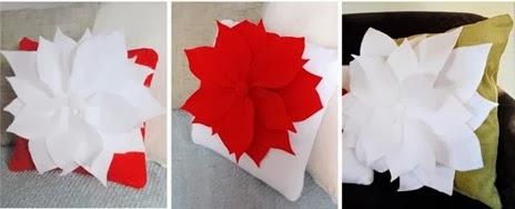 подушка  цветок пуансетия | cushion flower Poinsettia