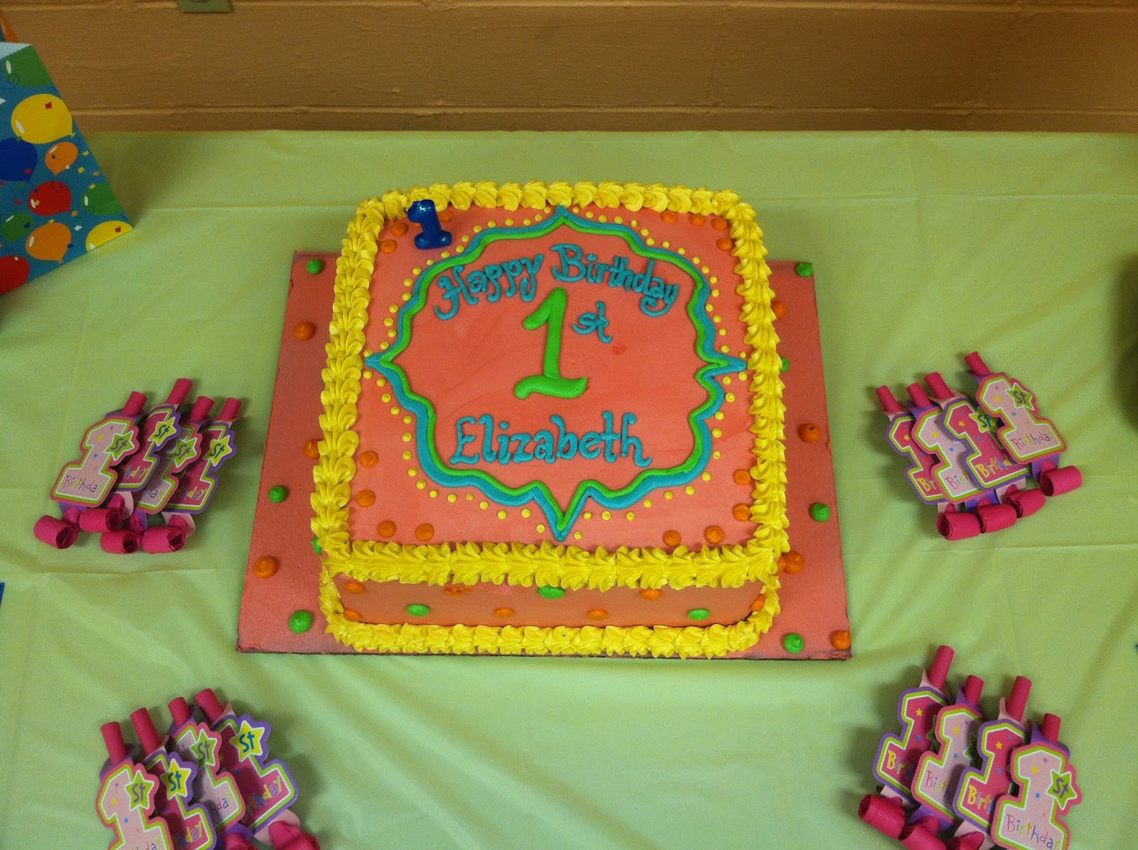 ... with the medallion border for Elizabeth's first birthday party