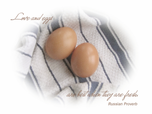 Love and eggs are best when they are fresh.  Russian Proverb